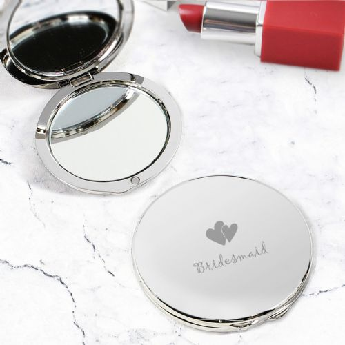Bridesmaid Gift Round Silver Compact Mirror gift and keepsake for bridesmaid